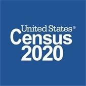 """United States Census 2020"" on blue background"