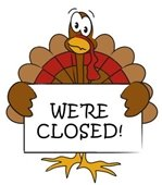 """Turkey holding a """"We're Closed"""" sign"""