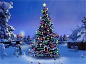 Christmas tree, lighted, snowman - in snow covered park
