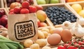 """Farmers Market - produce & eggs, Bag stamped """"Fresh Local Produce"""""""