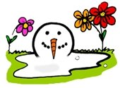 melting snowman along side sprouting flowers