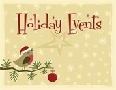 """""""Holiday Events""""  pic of bird singing, on tree branch"""