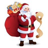Santa with bag of toys and list