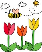 smiling bumble bee flying over colored tulips