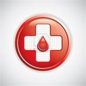 Red Cross Symbol with blood drop in center