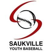 "Saukville Youth Baseball logo - image of baseball over red ""S"" swish"
