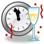 Clock with hands almost at 12; confetti, wine glass
