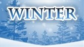 """""""Winter"""" word over blue background of trees & snow"""