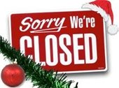 """""""Sorry We're Closed sign - red with Santa hat on top corner, garland & ornament on bottom corner"""