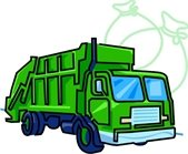 Green garbage collection truck