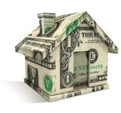 Dollar bills molded in the shape of a house