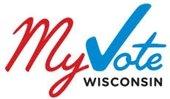 """""""My Vote Wisconsin"""" logo - """"V"""" as a check mark"""