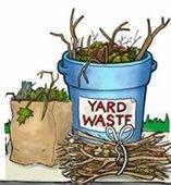 Yard waste bucket with yard debris; bag of leaves; bundle of branches