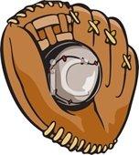 Picture of baseball in center of baseball glove