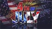 """""""4th of July"""" (R/W/B) over flag and fireworks background"""