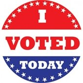 """""""I Voted Today"""" button - r/w/b with stars circling"""