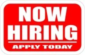 """""""Now Hiring - Apply Today"""" red sign w/white lettering"""