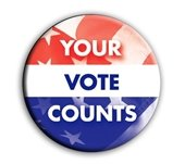 """""""Your Vote Counts"""" button - red, white, blue w/stars & stripes"""