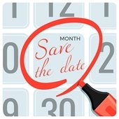 """""""Save the Date"""" circled on a calendar page"""