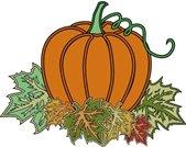 pumpkin sitting on fall leaves