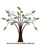 """Oscar Grady Library """"Tree"""" logo - tree with books, CDs, etc. in branches"""