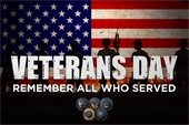 """""""Veterans Day - Remember all who served"""" - over American Flag background"""