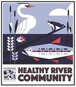 Healthy River Community Sign (bird, frog, fish)