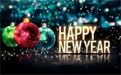 """""""Happy New Year"""" - ornaments and glitter"""