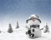 Winter scene - snowman, snow, trees