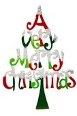 """""""A Very Merry Christmas"""" words stacked to form a tree"""