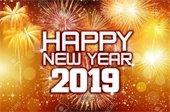 """Happy New Year 2019"" - Gold w/fireworks"