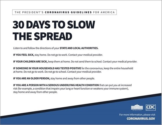 """COVID-19 - """"30 Days to Slow the Spread"""" Info"""