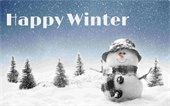 """""""Happy Winter"""" above scene of Snowman & snow covered pine trees"""