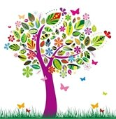 Colorful spring tree with butterflies flying around it.