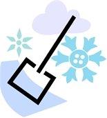 Shovel w/snow & snowflakes