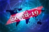 """""""COVID-19"""" - over image of continents"""